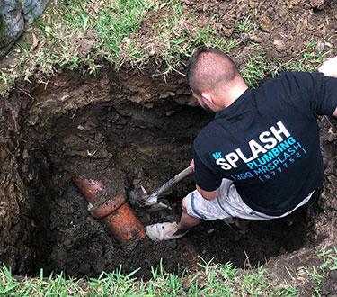 plumber digging holes